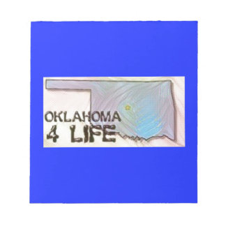 """""""Oklahoma 4 Life"""" State Map Pride Design Notepad"""