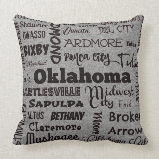 Oklahoma cities throw pillow in gray/black