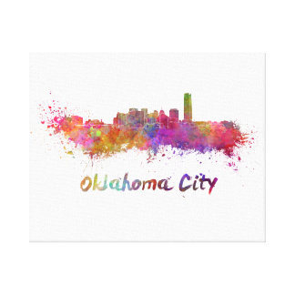 Oklahoma City skyline in watercolor Canvas Print