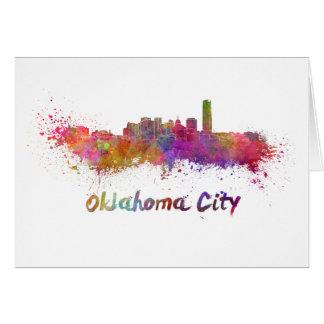 Oklahoma City skyline in watercolor Card