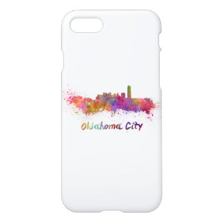 Oklahoma City skyline in watercolor iPhone 7 Case