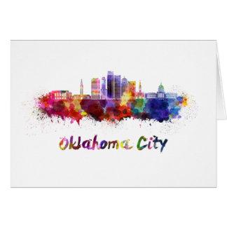 Oklahoma City V2 skyline in watercolor Card