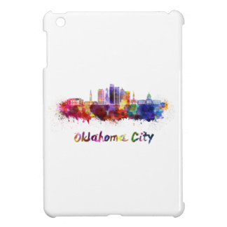 Oklahoma City V2 skyline in watercolor Cover For The iPad Mini