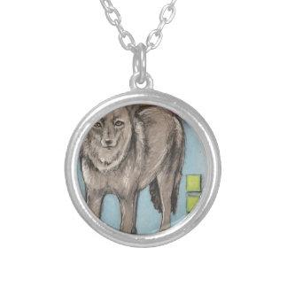 Oklahoma Coyote Round Pendant Necklace