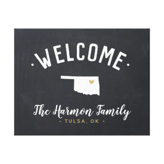 Oklahoma Family Monogram Welcome Sign