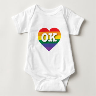 Oklahoma Gay Pride Rainbow Heart - Big Love Baby Bodysuit