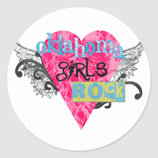 Oklahoma Girls Rock Classic Round Sticker