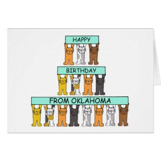 Oklahoma Happy Birthday Cats Card