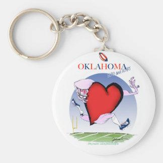 oklahoma head heart, tony fernandes basic round button keychain