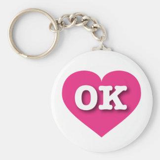 Oklahoma Hot Pink Heart - Big Love Keychain