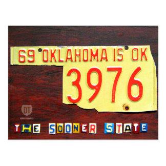 Oklahoma License Plate Map Postcard