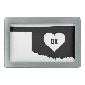 Oklahoma Love Rectangular Belt Buckle