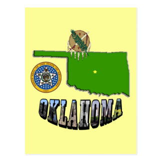 Oklahoma Map, seal and Picture Text Postcard
