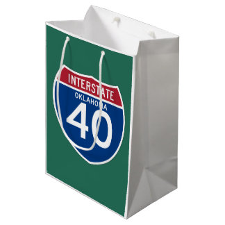 Oklahoma OK I-40 Interstate Highway Shield - Medium Gift Bag