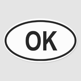 "Oklahoma ""OK"" Oval Sticker"