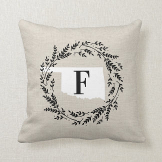 Oklahoma Rustic Wreath Monogram Throw Pillow