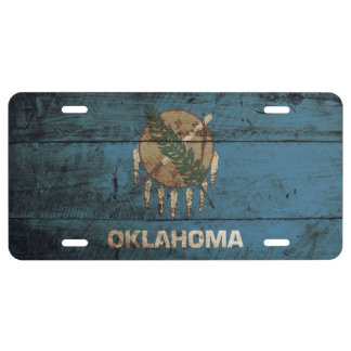 Oklahoma State Flag on Old Wood Grain 1 License Plate