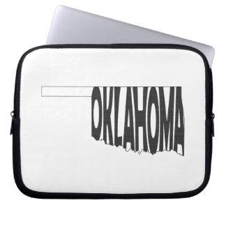 Oklahoma State Name Word Art Black Laptop Sleeve