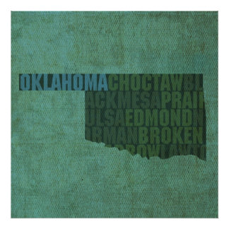 Oklahoma State Outline Word Map on Canvas Poster