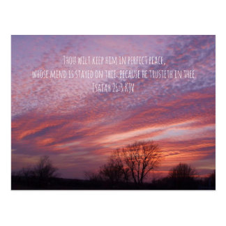 Oklahoma Sunset with Trees and Bible Verse Postcard