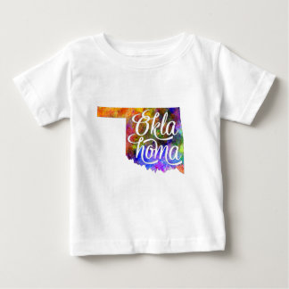 Oklahoma U.S. State in watercolor text cut out Baby T-Shirt