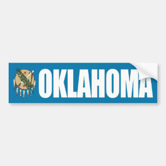 Oklahoma with State Flag Bumper Sticker