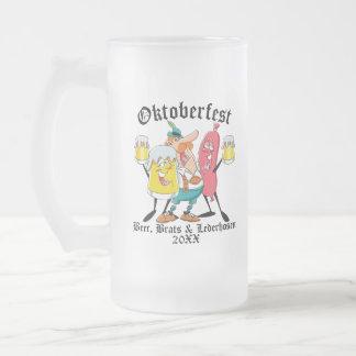 Oktoberfest Beer Brats & Lederhosen Frosted Glass Beer Mug