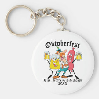 Oktoberfest Beer Brats & Lederhosen Keychain