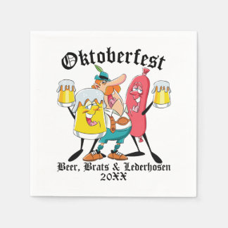 Oktoberfest Beer Brats & Lederhosen Paper Napkins