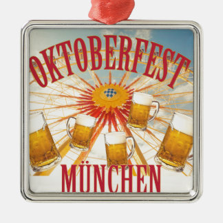 Oktoberfest beer festival in Munich, vintage Metal Ornament