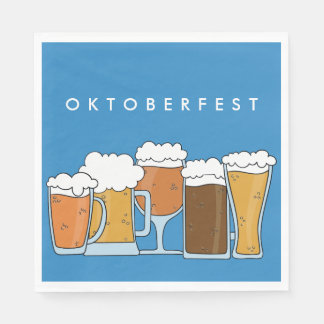 Oktoberfest Beerfest. Beer Collection. Paper Napkin