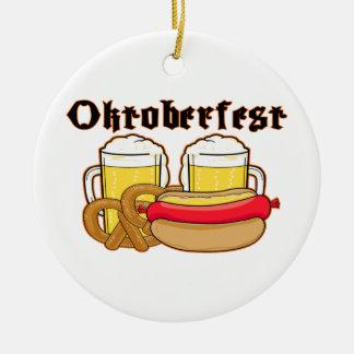 Oktoberfest Bratwurst & Beer Ceramic Ornament