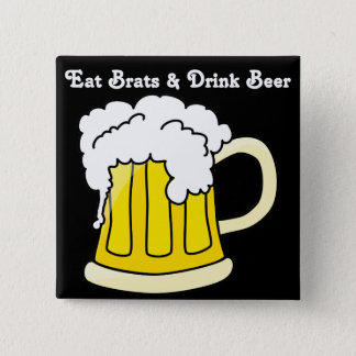 Oktoberfest Eat Brats & Drink Beer 2 2 Inch Square Button
