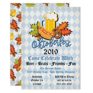 Oktoberfest fall leaves Party Invitations