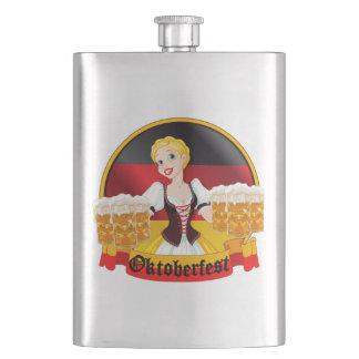 Oktoberfest German Bar Maid Hip Flask