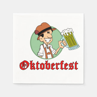 Oktoberfest German Cartoon Guy With Beer Party Paper Napkins