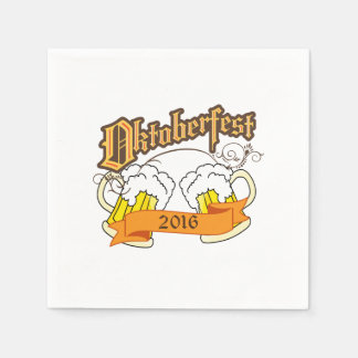 Oktoberfest German Festival Beer Steins Typography Disposable Napkins