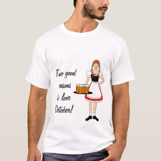Oktoberfest Girl and Beer -- Customizable T-Shirt