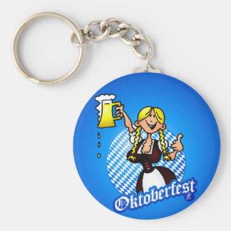 Oktoberfest - girl in a dirndl basic round button keychain