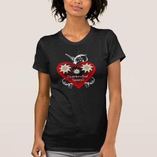 Oktoberfest Heart Edelweiss swirls Tee Shirt dark