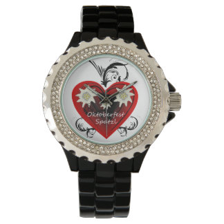 Oktoberfest Heart Spatzl Rhinestone Watch black