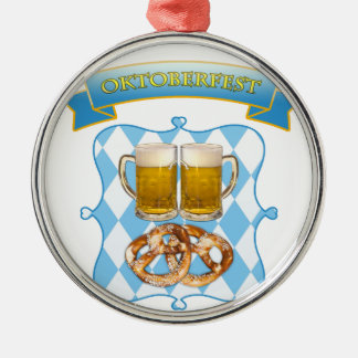 Oktoberfest in Munich, beer &pretzels Metal Ornament