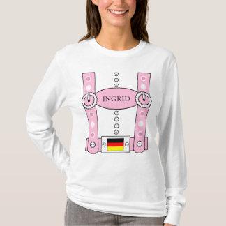 Oktoberfest Lederhosen Funny Add Name Pink T-Shirt
