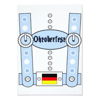 Oktoberfest Lederhosen Funny Blue Card