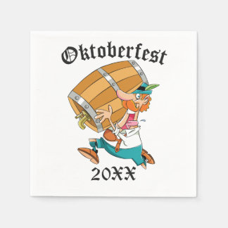 Oktoberfest Man With Keg Disposable Napkins