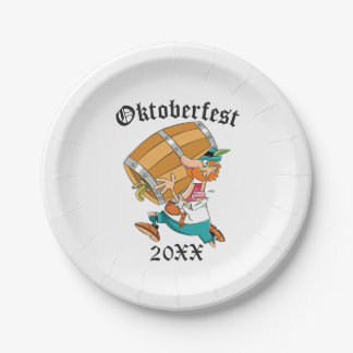 Oktoberfest Man With Keg Paper Plate