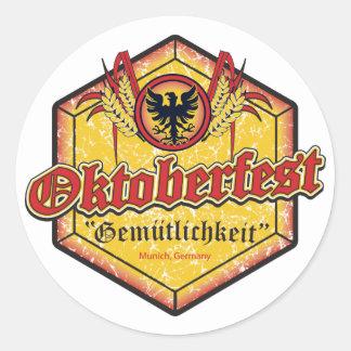 Oktoberfest - Pentagon Design Classic Round Sticker