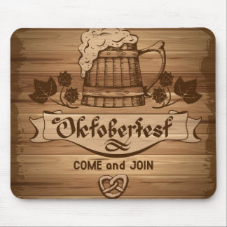 Oktoberfest, vintage poster with wooden mouse pad