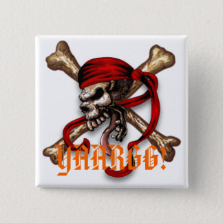 Ol Pirate Skull, YAARGG! 2 Inch Square Button