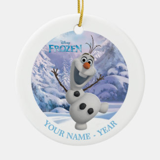 Olaf | Snowflake Background Add Your Name Round Ceramic Ornament